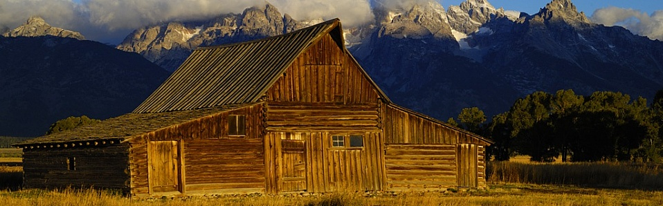 Grand Teton National Park.  Mormon Barn at sunrise.